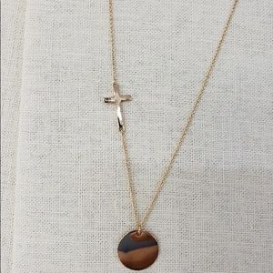 Jewelry - Gold tone cross Disc Engraved Monogram Necklace